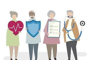 Illustration of seniors insurance