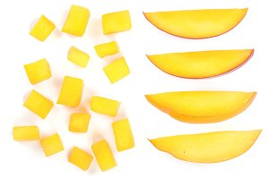 cube and slices of Mango fruit isolated on white background close-up. Top view. Flat lay