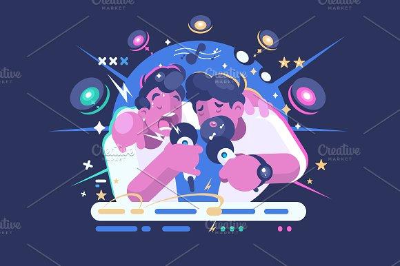 Friends Sing In Karaoke Club