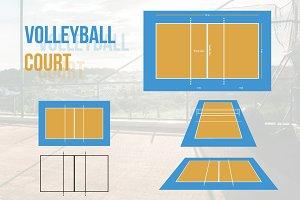 Volleyball Court Vector Illustration
