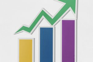 Business growth bar chart icon (PSD)
