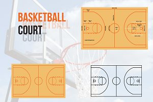 Basketball Court Vector Illustration