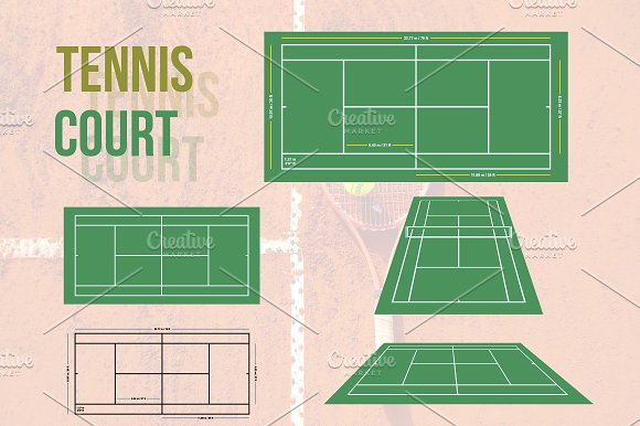 Tennis Court Vector Illustration