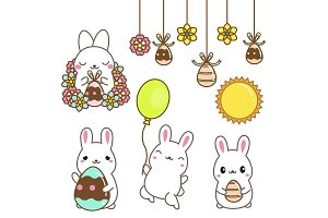 Cute kawaii Easter bunnies