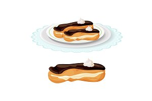 Creamy soft delicious eclair covered with chocolate on plate