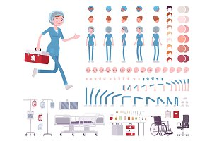 Female nurse in hospital uniform character creation set