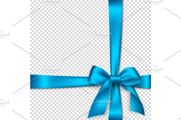 Realistic Blue Bow And Ribbon
