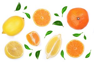 lemon and tangerine with leaves isolated on white background. Flat lay, top view. Fruit composition