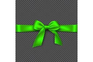 Realistic bright green bow and ribbon.