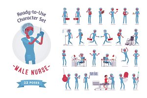 Male nurse ready-to-use character set