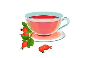 Tea with rose hips in transparent glass and saucer