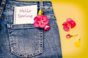 Spring message in blue jeans pocket