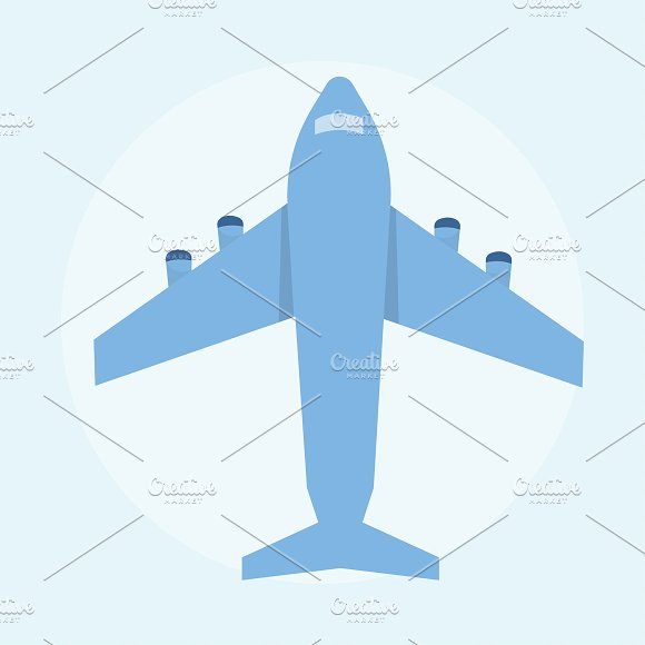 Illustration Of A Blue Airplane