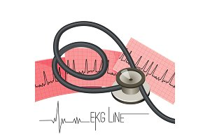 EKG line on long paper sheet and medical stethoscope
