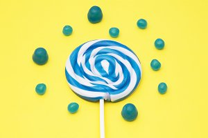 colorful round lollipop and assortme