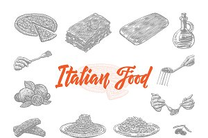 Hand Drawn Italian Food Icons Set