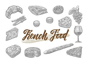 Engraved French Food Elements Set