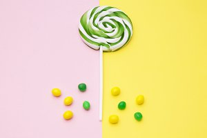 colorful lollipops and assortment of