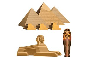Egyptian pyramids, ancient sphinx and sarcophagus of pharaoh