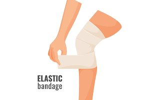 Elastic bandage on human hurt leg isolated illustration