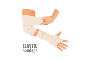 Elastic medical bandage wrapped around hurt human hand