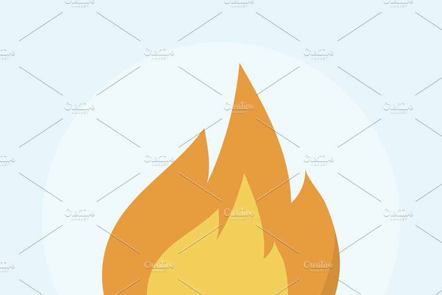 Illustration of a burning fire in Illustrations