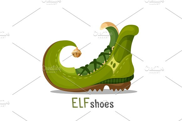 Elf Shoes With Curved End And Golden Round Bell