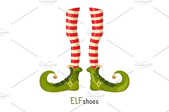 Elf Green Shoes And Striped Red Leggings On Thin Legs