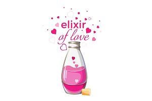 Elixir of love bottle with pink liquid and hearts isolated