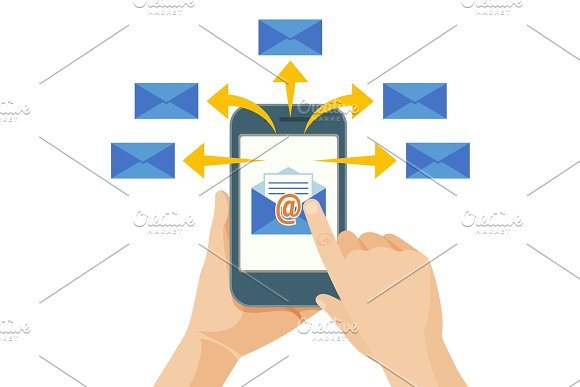 Hand Sending Commercial Message From Mobile Phone To People