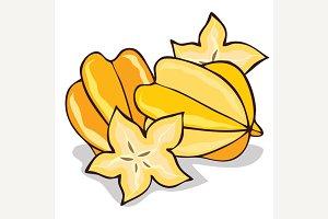 Isolate ripe starfruit or carambola