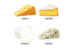 Emmental camembert mozzarella and roquefort collection of cheeses