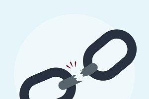 Illustration of a broken chain