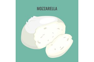 Mozzarella cheese big piece isolated on blue background.