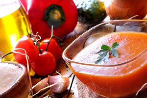 Gazpacho on a wooden table