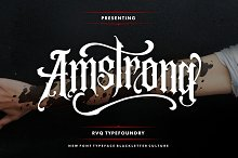 Amstrong Typeface (intro sale) by Rifqi triana in Blackletter Fonts