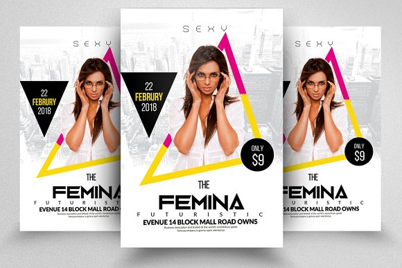 Sexy Electro Party Flyer Templates