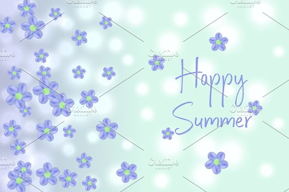 Flying Random Chaotic Flowers On Blue Bokeh Defocused Background With Happy Summer Text