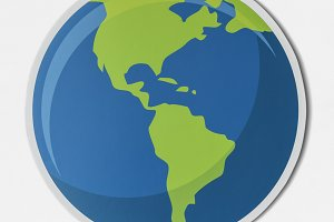 Cut out paper globe icon (PSD)
