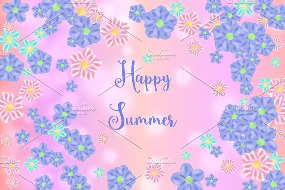 Flying Random Chaotic Flowers On Pink Bokeh Defocused Background With Happy Summer Text