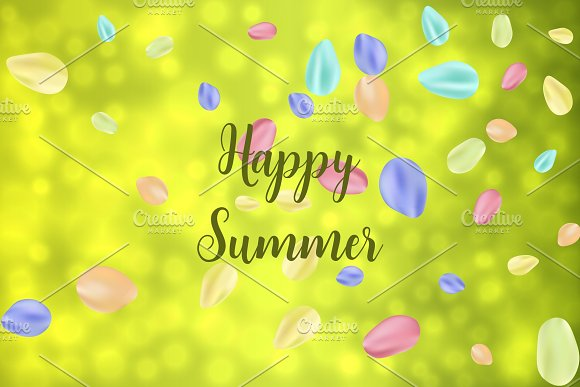 Flying Random Chaotic Colorful Petals On Green Bokeh Defocused Background With Happy Summer Text