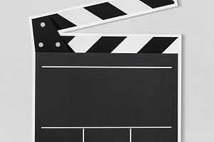 Black and white clapper board (PSD)