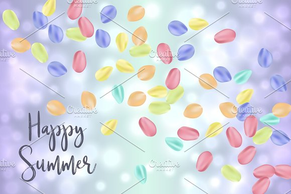Flying Random Chaotic Colorful Petals On Blue Bokeh Defocused Background With Happy Summer Text