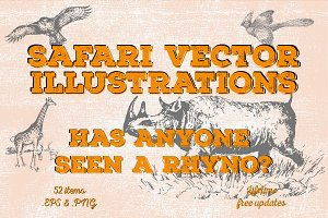 52 Safari Vector Illustrations