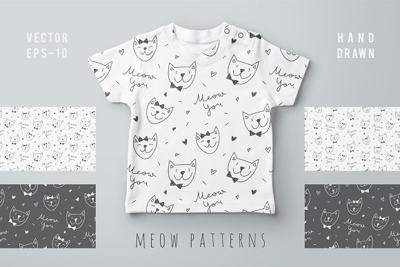 Cute Cats 4 Patterns