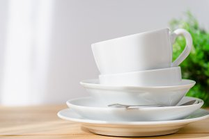 Clean dishes - plate, saucer, cup