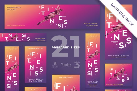 Banners Pack Fitness Training Gym