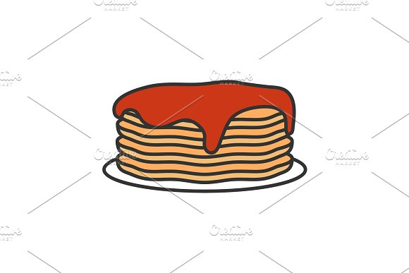 Pancakes Stack With Jam Or Honey Color Icon