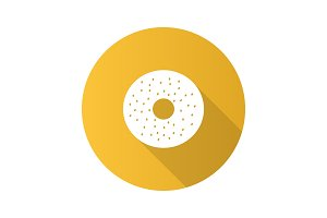 Bagel flat design long shadow glyph icon