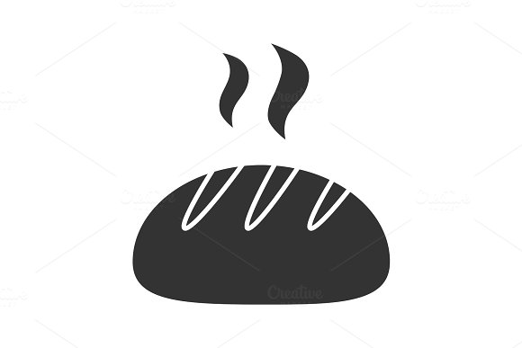 Fresh White Round Bread Glyph Icon